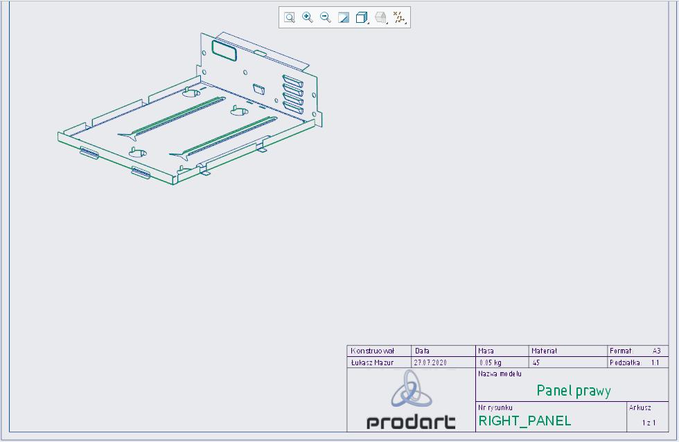 Widok zagiętego modelu blaszanego Creo Parametric umieszczony na arkuszu dokumentacji płaskiej.