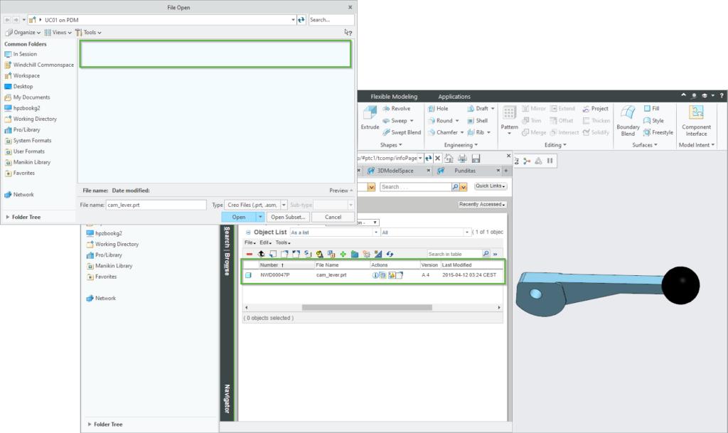 Grafika przedstawiająca Dynamiczne wyszukiwanie modelu Creo Parametric na serwerze Windchill PDMLink.