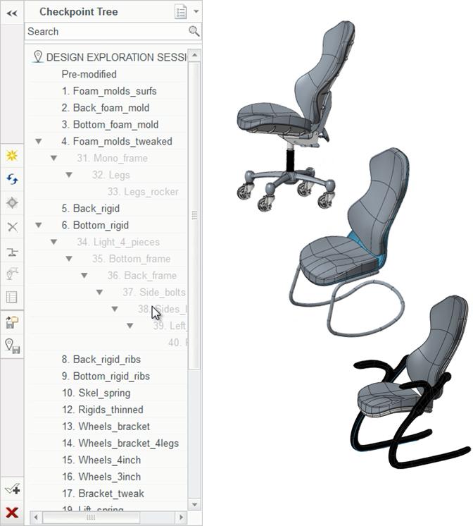 Grafika przedstawiająca drzewo punktów kontrolnych sesji Design Exploration oraz alternatywne warianty modelu.