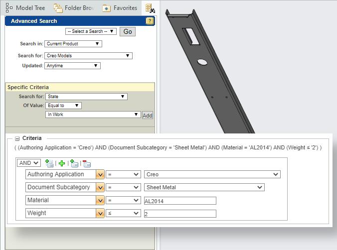 Wyszukiwanie modeli Creo Parametric w systemie Windchill PDMLink.
