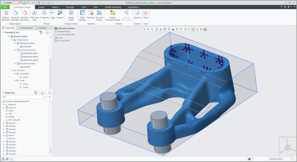 Grafika przedstawiająca geometrię modelu zoptymalizowaną z wykorzystaniem technologii Creo Generative Design.