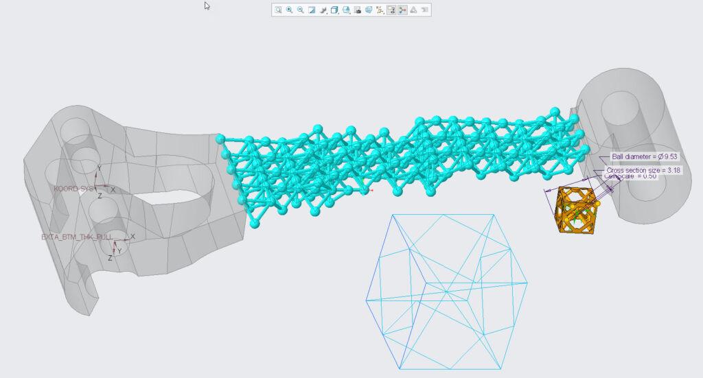 Definiowanie właściwości struktury siatkowej za pomocą rozszerzenia Creo Additive Manufacturing.