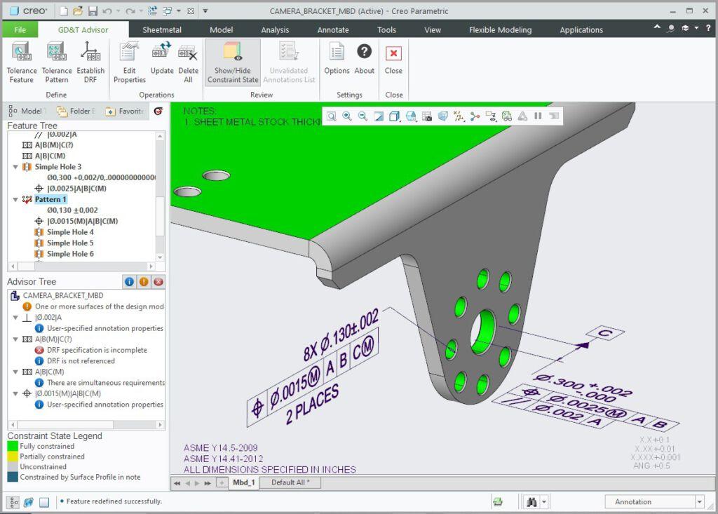 Narzędzia Creo GD&T Advisor do opisywania i weryfikowania GD&T naniesionych na model 3D.