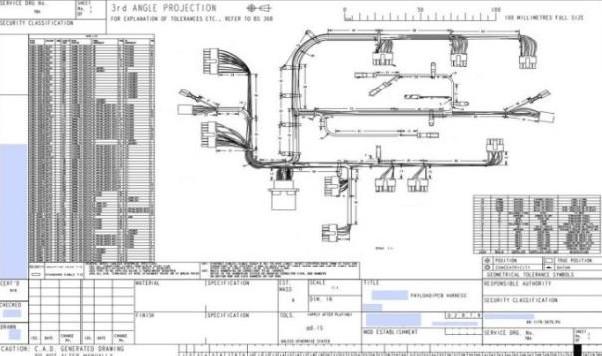 Dokumentacja płaska wiązki elektrycznej przygotowana za pomocą Creo Harness Manufacturing (HMX).