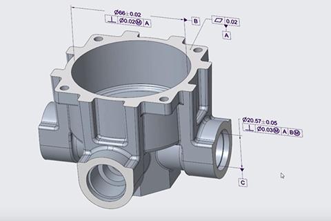 Wymiary i tolerancje geometryczne przedstawione na modelu 3D poprzez podejście MBD.