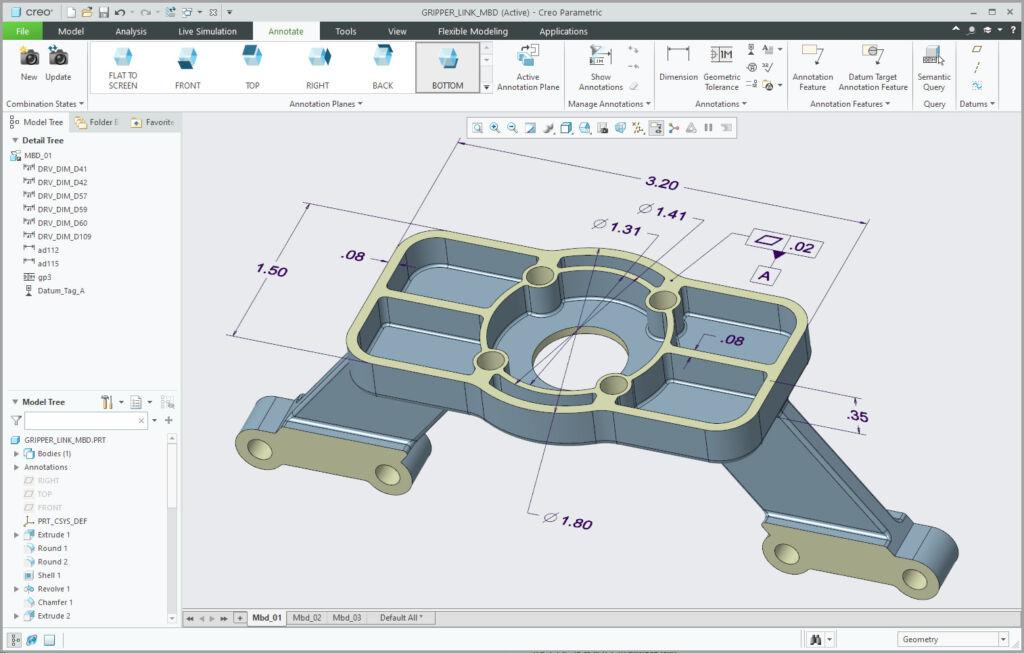 Interfejs opisywania modelu 3D w Creo Parametric.