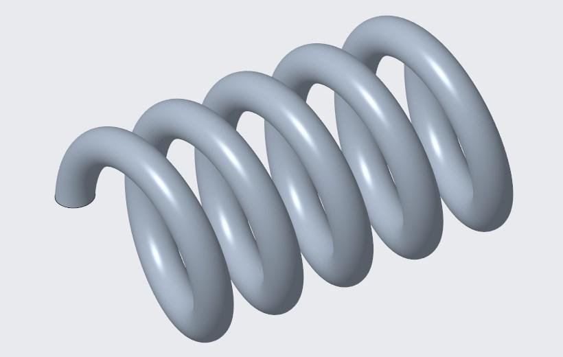 Model sprężyny stworzony w Creo Parametric.
