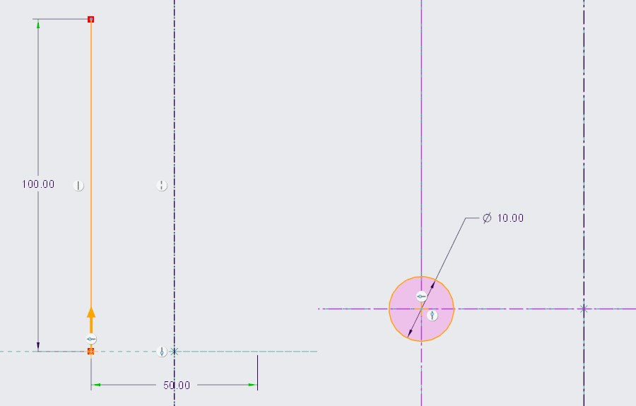 Szkic profilu i przekroju przeciągnięcia śrubowego definiowanego w Creo Parametric.