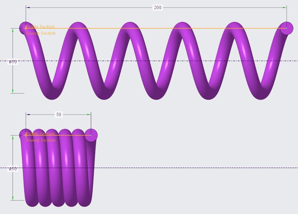 Porównanie rozciągniętej i ściśniętej sprężyny z zachowaniem stałej liczby zwojów.