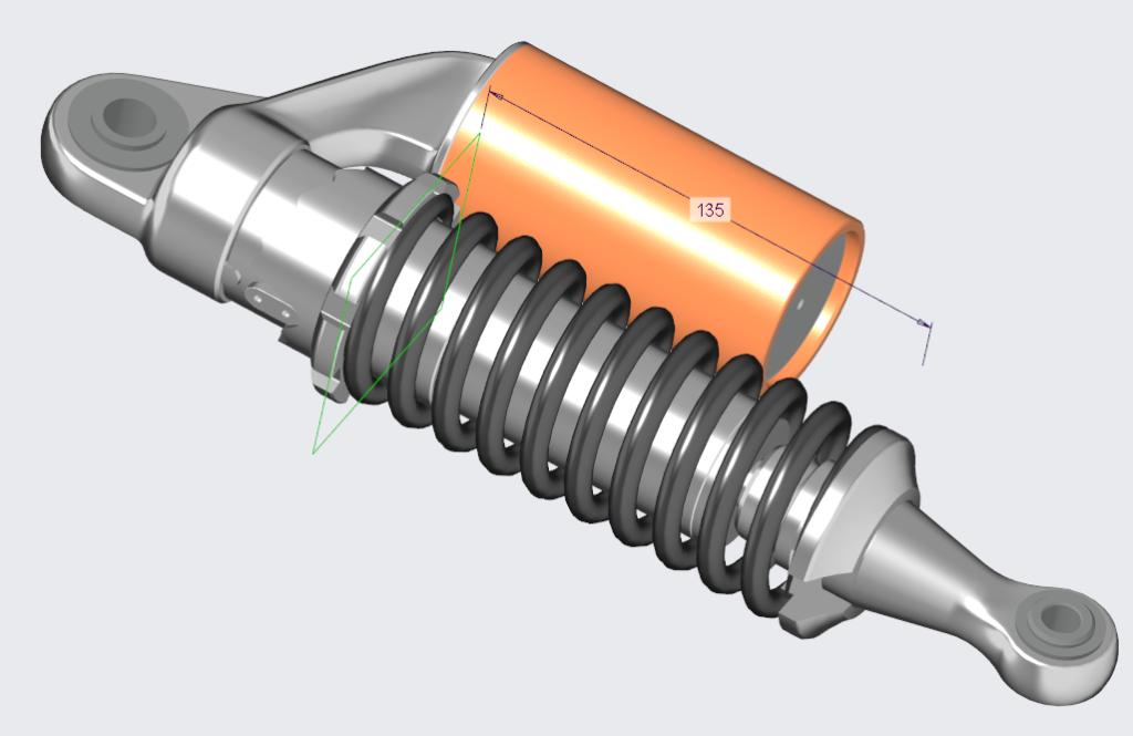 Grafika przedstawiająca wykonany w Creo Parametric model amortyzatora motocykla z wymiarem długości sprężyny.