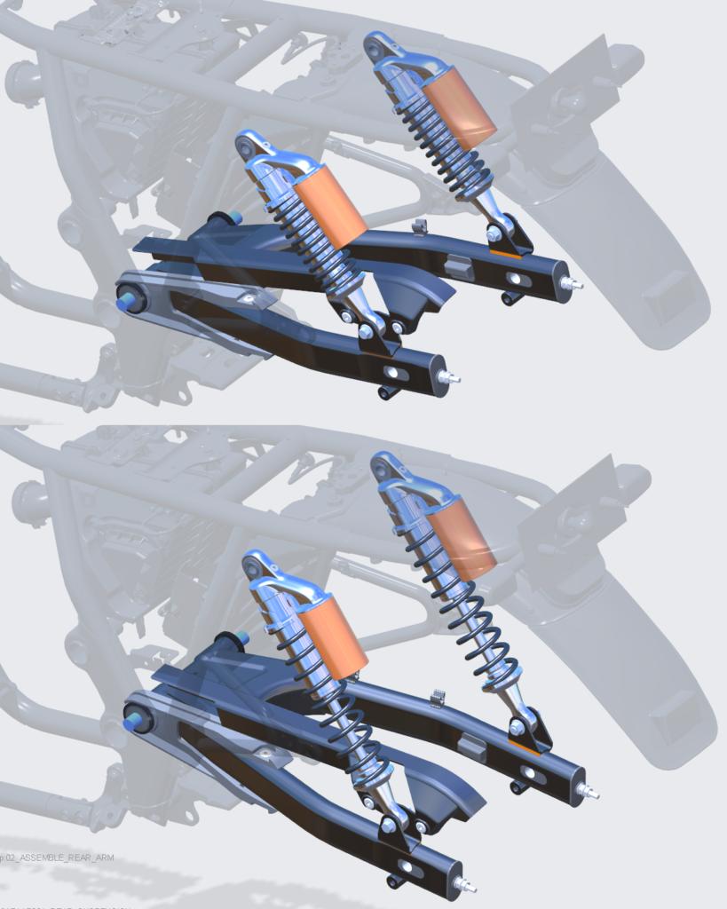 Grafika przedstawiająca zachowaną kinematykę i elastyczność komponentów Creo Parametric po wstawieniu amortyzatora jako podzespołu do innego mdoelu Creo Parametric.
