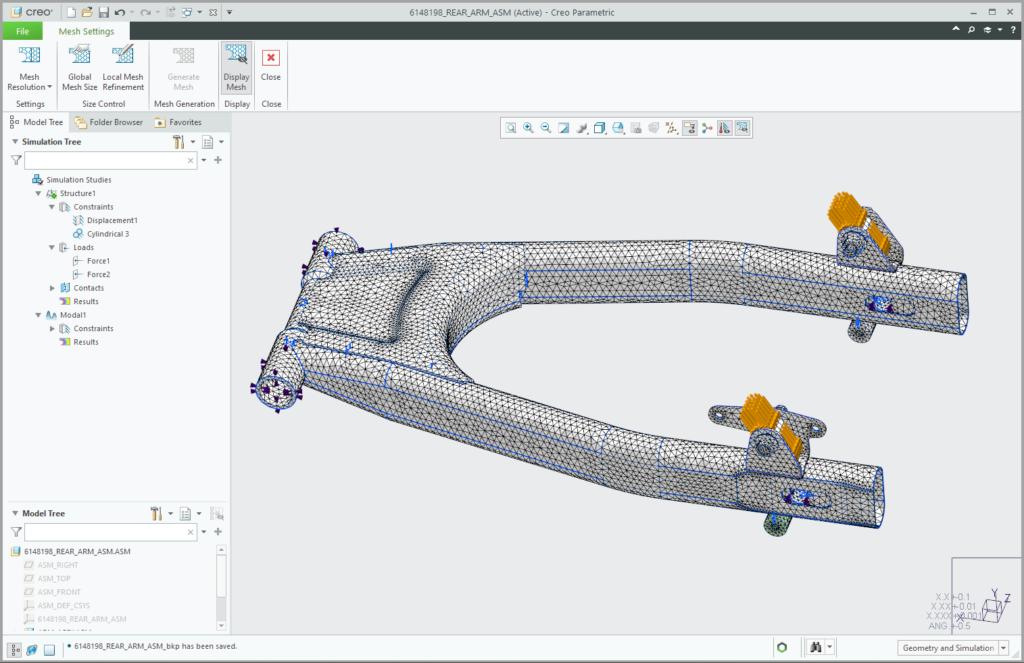 Model obciążeń i utwierdzeń geometrii wahacza motocykla w Creo Ansys Simulation.