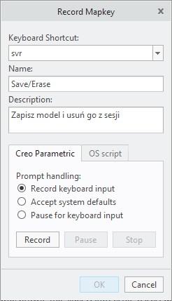 Okno dialogowe Creo Parametric zawierające opcje definiowania makro.
