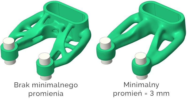 Porównanie geometrii otrzymanej w Creo 8.0 poprzez projektowanie generatywne z nadanym warunkiem minimalnego promienia zaokrąglenia ostrych krawędzi.