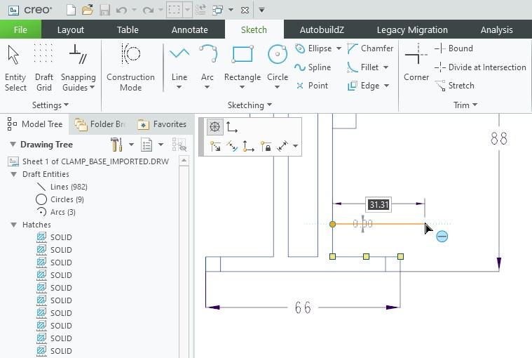 Nowe narzędzia szkicowania na dokumentacji płaskiej wprowadzone w Creo 8.0.