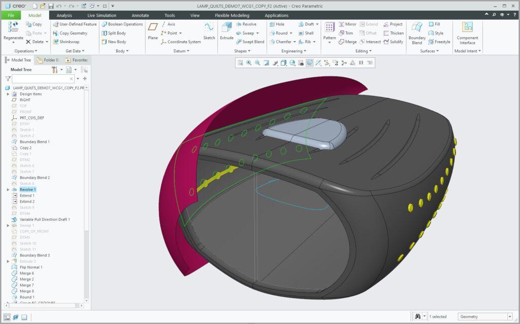 Migawka powierzchni wyświetlona w modelu Creo 8.0.
