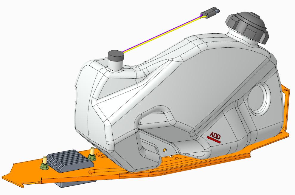 Model zbornika oleju skutera śnieżnego wykonany w Creo Parametric.