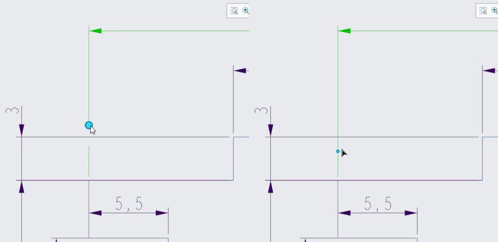 Manipulowanie w Creo Parametric szerokością przerwania pomocniczej linii wymiarowej za pomocą uchwytów.