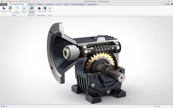 Grafika przedstawiająca wizualizację przekładni zębatej wykonaną za pomocą rozszerzenia Creo Render Studio.