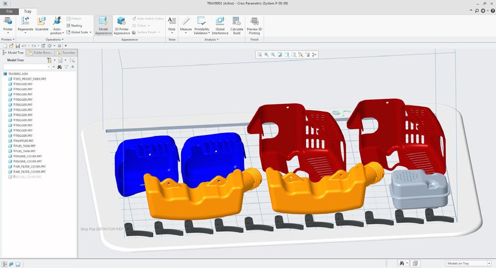 Grafika przedstawiająca optymalizowanie rozmieszczenia modeli na tacy drukarki w Creo Additive Manufacturing.