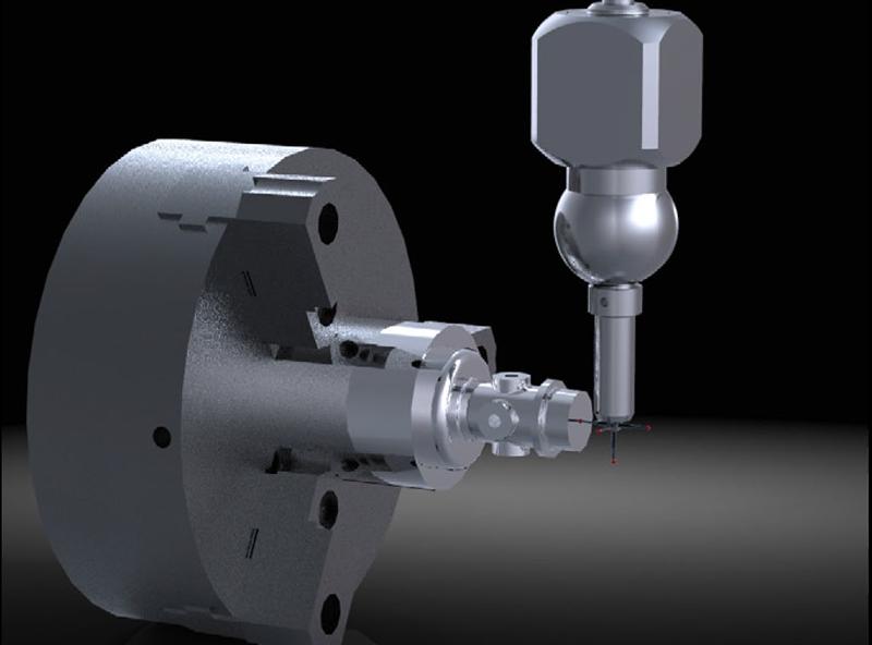 Grafika przedstawiająca wykorzystanie sondy do kontroli jakości za pomocą Creo Complete Machining.