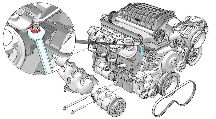 Grafika przedstawiająca przygotowaną w Creo Illustrate ilustrację silnika z wstawionym dodatkowym widokiem.