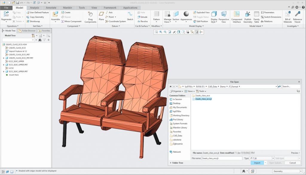 Grafika przedstawiająca model fotela importowany z formatu JT.