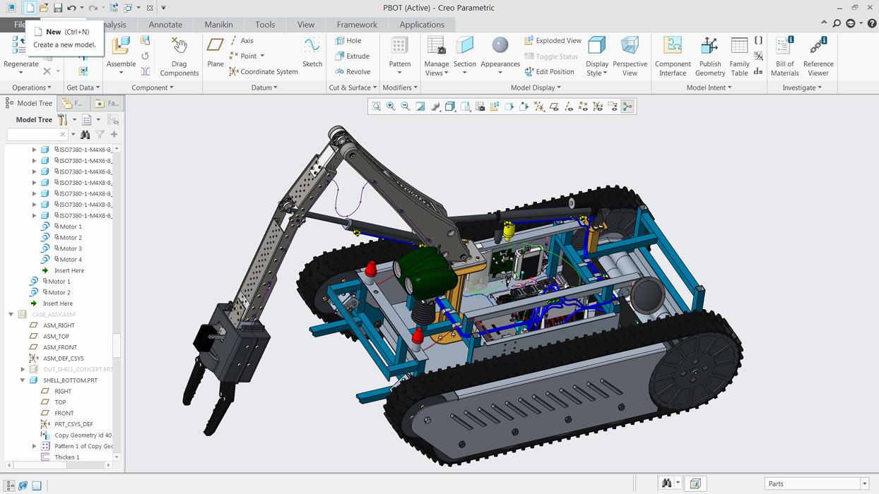 Model robota przemysłowego zaprojektowany w Creo Parametric.