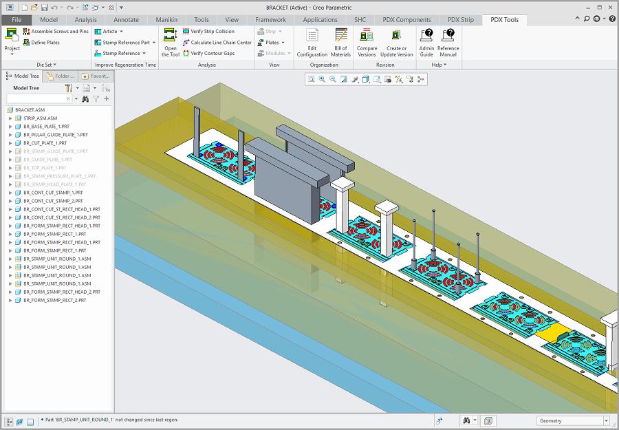 Grafika przedstawiająca model tłocznika wielotaktowego przygotowanego za pomocą Creo Progressive Die.