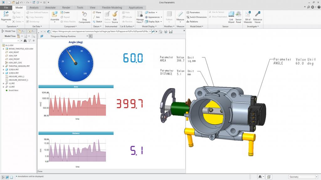 Grafika przedstawiająca odczyt danych z czujników umieszczonych w produkcie za pomocą Creo Product Insight.