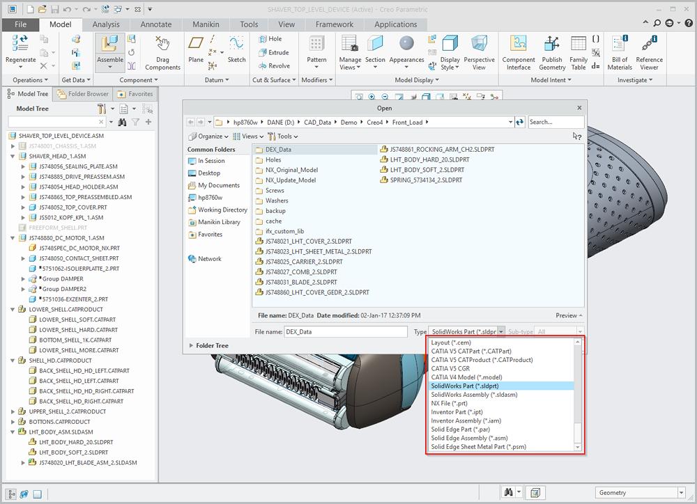 Grafika przedstawiająca listę formatów CAD obsługiwanych przez technologię Unite.