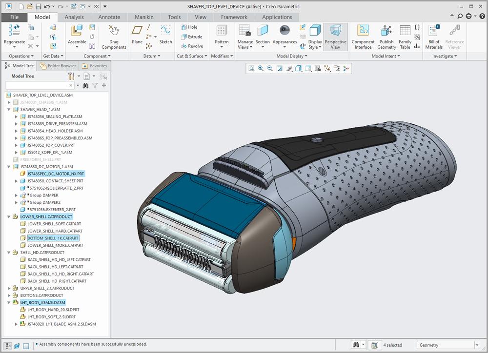 Zespół Creo Parametric zawierający modele z innych systemów CAD umieszczone z wykorzystaniem Technologii Unite.