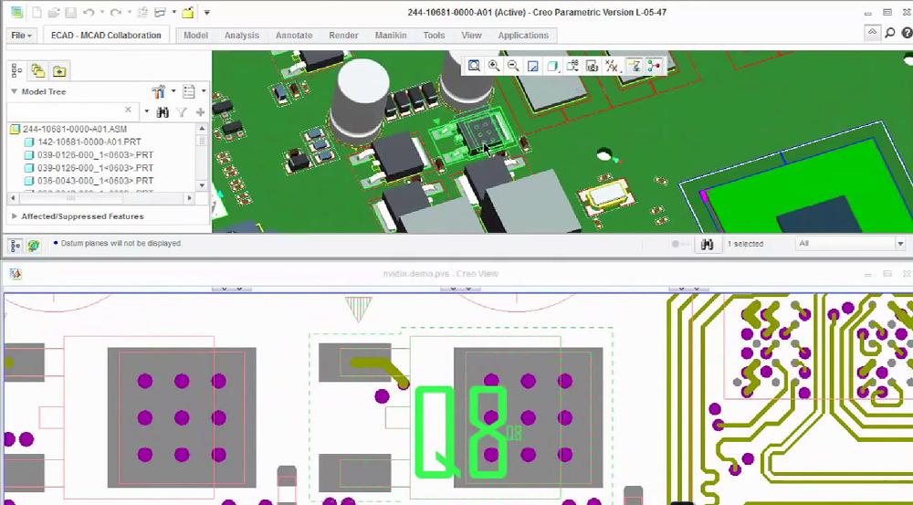 Grafika przedstawiająca identyfikowanie w Creo View ECAD danych ze schematu elektrycznego i odpowiadających im modeli mechanicznych.