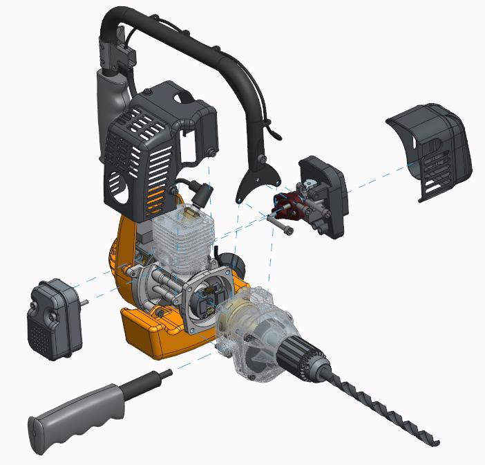 Grafika przestawiająca etap procesu montażu przygotowany z wykorzystaniem rozszerzenia Creo Advanced Assembly.