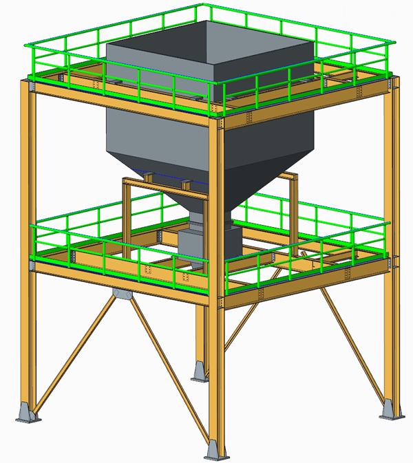 Grafika przedstawiająca strukturę kratownicową z barierkami i wspornikami, zaprojektowaną z wykorzystaniem Creo Advanced Framework.