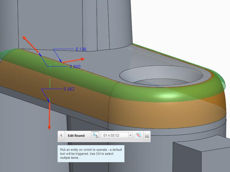 Grafika przedstawiająca edytowanie wymiarów zaokrąglenia w Creo Direct za pomocą uchwytów 3D.