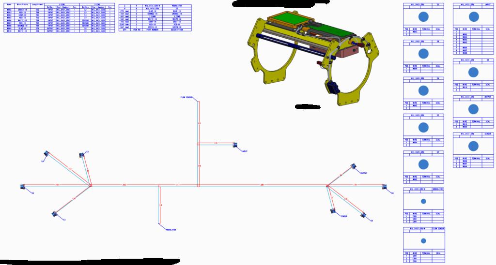 Grafika przedstawiająca dokumentację wiązek elektrycznych przygotowaną za pomocą Creo Harness Manufacturing.