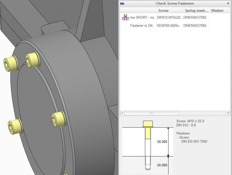 Garfika przedstawiająca możliwości rozszerzenia Creo Intelligent Fastener w zakresie weryfikacji elementów po wprowadzeniu zmian projektowych.
