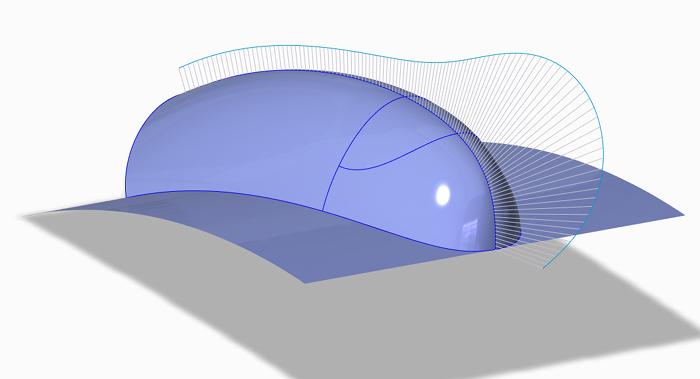 Grafika przedstawiająca analizę krzywizny powierzchni projektowanej w środowisku Creo ISDX.