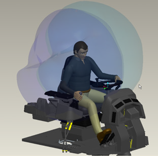 Grafika przedstawiająca wizualizację zasięgu ramion operatora urządzenia z wykorzystaniem rozszerzenia Creo Manikin.
