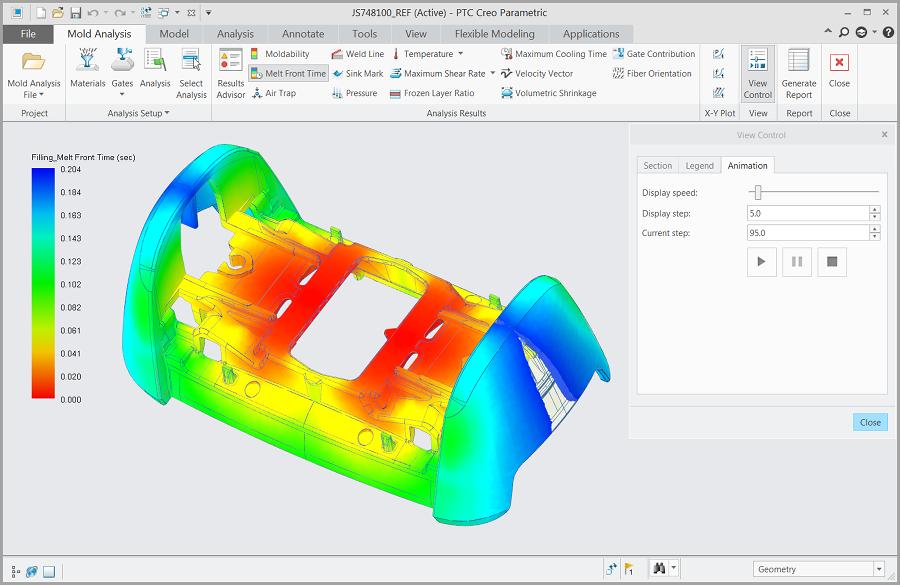 Garfika przedstawiająca symulację wtrysku tworzywa przeprowadzoną za pomocą Creo Mold Analysis.