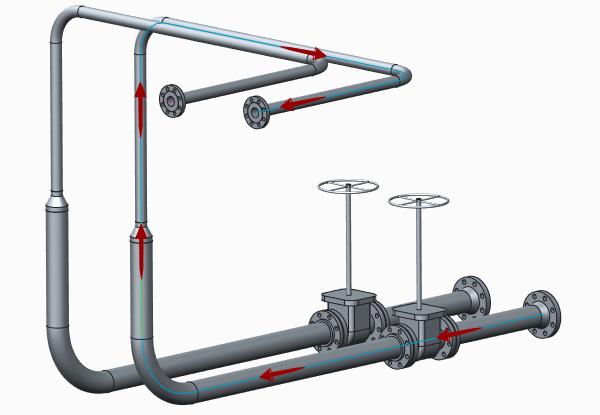 Grafika przedstawiająca rurociąg zaprojektowany z wykorzystaniem Creo Piping and Cabling.