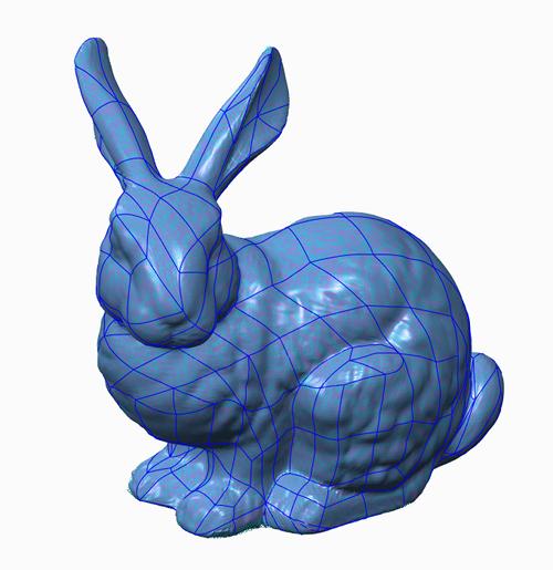Grafika przedstawiająca model fasetkowy królika uzyskany z chmury punktów i przetworzony za pomocą rozszerzenia Creo Reverse Engineering.
