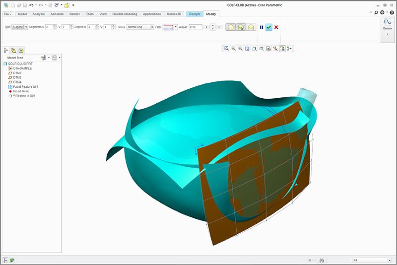 Grafika przedstawiająca tworzenie powierzchni za pomocą rozszerzenia Creo Reverse Engineering na podstawie danych fasetkowych.