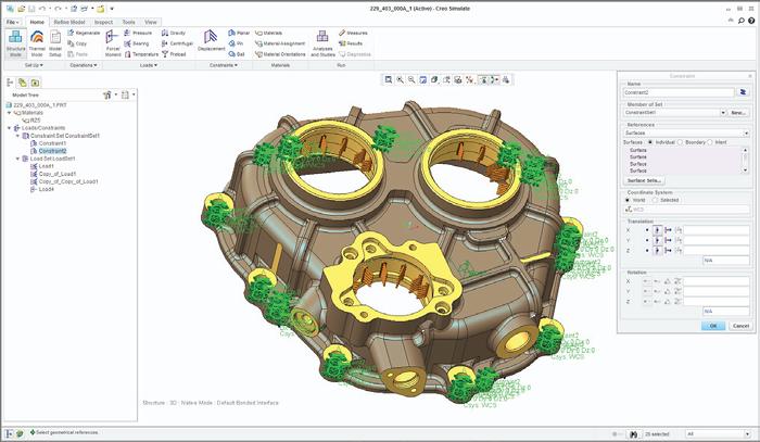 Grafika przedstawiająca model 3D z przyłożonymi w Creo Simulate obciążeniami i utwierdzeniami.