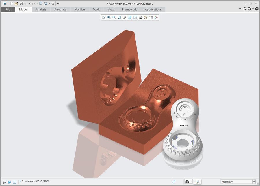 Grafika przedstawiająca część plastkową i gotową formę, zaprojektowaną za pomocą Creo Tool Design.
