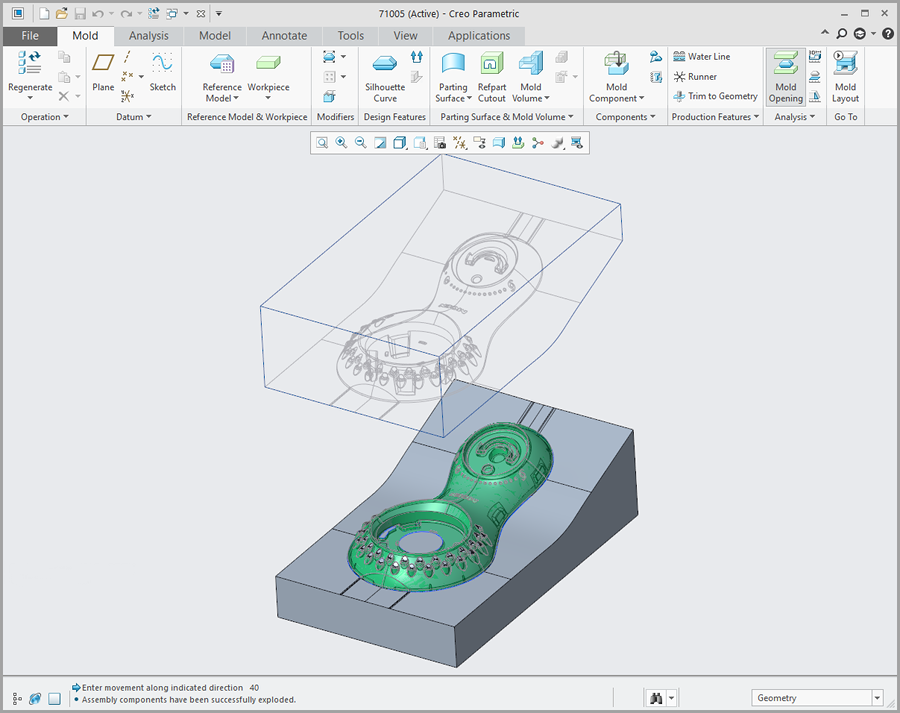 Grafika przedstawiająca interfejs rozszerzenia Creo Tool Design.