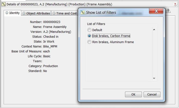 Grafika przedstawiająca filtrowanie struktury produktu pod kątem produkcji za pomocą Windchill MPMLink.