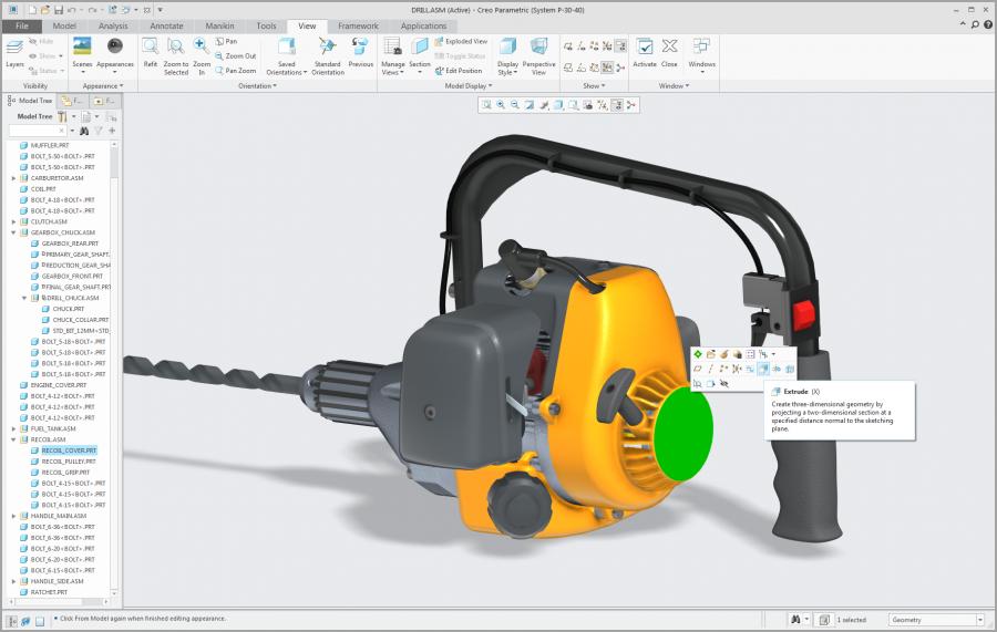 Grafika przedstawiająca interfejs Creo Parametric z mini paskiem narzędzi.
